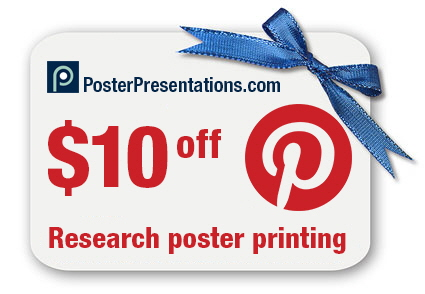 Pinterest coupon page for Posterpresentations com templates